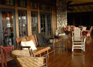 Antique Old HIckory Furniture on a screen porch