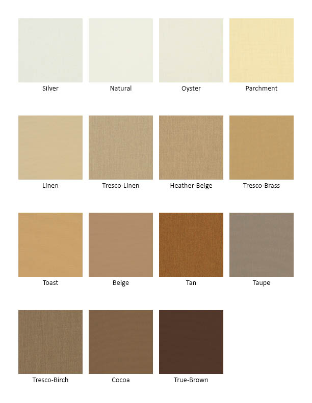Sunbrella Solid Fabric Colors White To Brown
